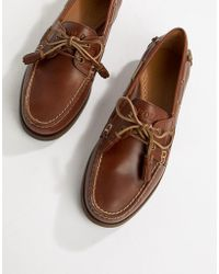 Polo Ralph Lauren - Merton Leather Boat Shoes In Tan - Lyst