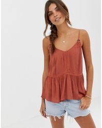 ASOS - Crinkle Cami With Lace Inserts And Ring Detail Sun Top - Lyst
