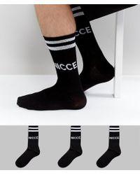 Nicce London Logo 3 Pack Sports Socks In Black