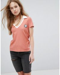 RVCA - Polo Top With Contrast Collar And V Neck In Rib - Lyst