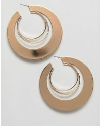 Missguided - Triple Layer Hoop Earring In Gold - Lyst