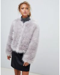 New Look - Fluffy Faux Fur Collarless Jacket - Lyst