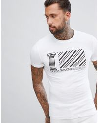 Versace Jeans - T-shirt In White With Greek Stripe Logo - Lyst