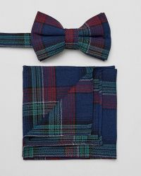 ASOS - Design Checked Bow Tie And Pocket Square - Lyst