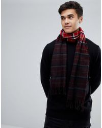 New Look - Dip Dyed Check Scarf In Red - Lyst