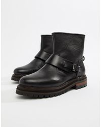 Hudson Jeans - London Black Leather Biker Ankle Boot With Buckle - Lyst