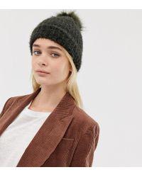 New Look - Fluffy Faux Fur Pom Pom Bobble Hat In Khaki - Lyst