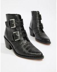 Kurt Geiger - Kurt Geiger Denny Black Croc Effect Black Ankle Boots With Buckle Detail - Lyst