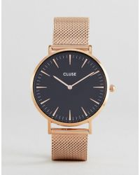 Cluse - La Bohme Cl18113 Contrast Dial Mesh Strap Watch In Rose Gold - Lyst
