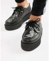 T.U.K. - Platform Faux Leather Creepers With Panther Embroidery - Lyst