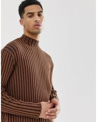 ASOS - Knitted Oversized Turtle Neck Jumper In Brown - Lyst