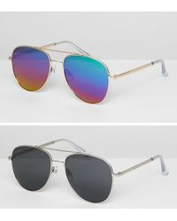 ASOS - Design Aviator Sunglasses 2pk In Silver Metal With Smoke Lens & Gold Metal With Flash Lens Save - Lyst