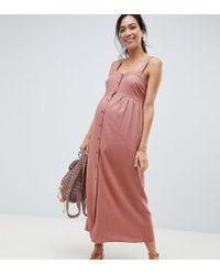 ASOS - Asos Design Maternity Linen Button Through Maxi Dress - Lyst