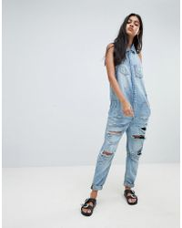 One Teaspoon - Sleeveless Boilersuit With Distressing - Lyst