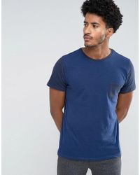 Mango - Man T-shirt With Contrast Sleeves In Navy - Lyst