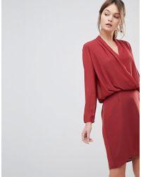 Reiss - Long Sleeved Wrap Dress - Lyst