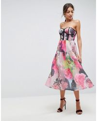 ASOS - Asos Bonded Mesh Bandeau Floral Midi Prom Dress - Lyst