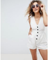 ASOS - Playsuit In Linen Look With Horn Buttons And Top Stitch Detail - Lyst