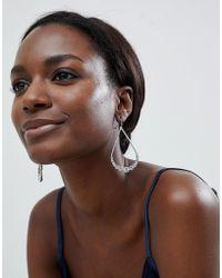True Decadence - Silver Oval Embellished Drop Earrings - Lyst