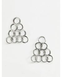 ASOS - Earrings With Open Circle Links In Triangle Shape In Silver - Lyst
