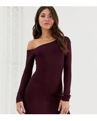 Missguided - Off Shoulder Knitted Dress In Plum - Lyst