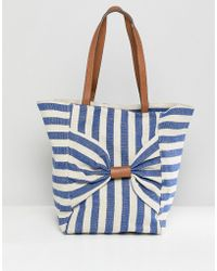 Oasis - Shopper Bag With Bow Detail In Stripe - Lyst