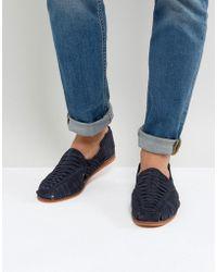 ASOS - Woven Sandals In Navy Suede - Lyst