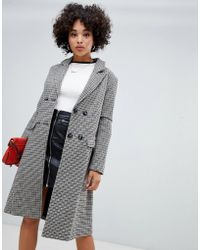 Missguided - Double Breasted Longline Formal Coat In Heritage Check - Lyst