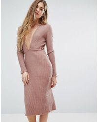 NYTT - Long Sleeve Plunge Front Dress In Pink - Lyst