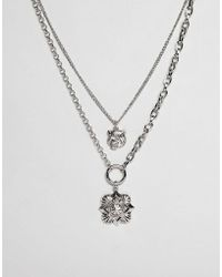 ASOS - Design Multirow Necklace With Oversized Antique Vintage Style Charm - Lyst
