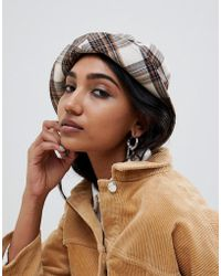 ASOS - Natural Check Bucket Hat - Lyst