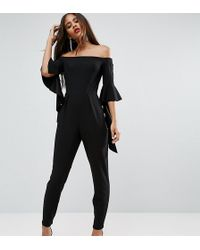ASOS | Bardot Jumpsuit With Ruffle Sleeve Detail | Lyst