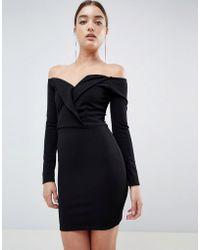 Missguided - Bardot Tux Mini Dress - Lyst
