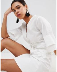 Fashion Union - Button Front Tea Blouse With Broderie Trims - Lyst