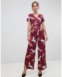 8dadd7082b5 Liquorish - Floral And Bird Print Wide Leg Jumpsuit - Lyst
