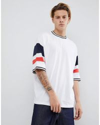 ASOS - Design Oversized T-shirt With Colour Blocking In White - Lyst