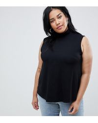 ASOS - Asos Design Curve Sleeveless Top With Turtle Neck In Black - Lyst