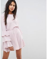 Ivyrevel - Long Sleeve Mini Dress With Ruffle Sleeves - Lyst