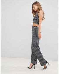 Flounce London - High Waisted Trousers With Elasticated Waist In Silver Metallic - Lyst