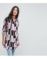 73b594540dc4 Noisy May Tall - Long Sleeve Graphic Print Shirt Dress - Lyst