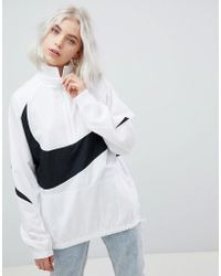 Nike - Vaporwave Oversized Half Zip Track Jacket In White With Large Swoosh - Lyst
