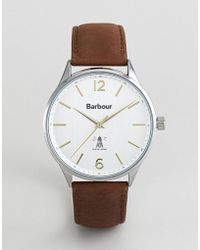 Barbour - Bb079slbr Jesmond Leather Watch In Brown - Lyst