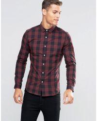 ASOS - Design Skinny Buffalo Plaid Shirt In Burgundy - Lyst