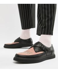 ASOS - Monk Creeper Shoes In Black Faux Leather With Pink Contrast Panel - Lyst