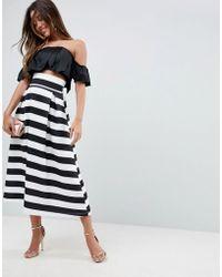 ASOS - High Waisted Scuba Midi Prom Skirt In Stripe - Lyst