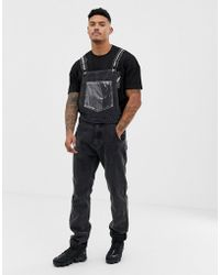 designer fashion Discover most fashionable Dungarees With Vinyl Pocket - Black