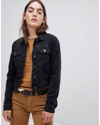 ASOS - Denim Shrunken Jacket In Washed Black - Lyst
