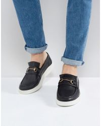 ASOS - Asos Loafers In Black Leather With White Sole And Snaffle - Lyst