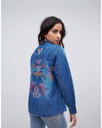 Raga - Desert Tribe Embroidered Back Denim Shirt - Lyst
