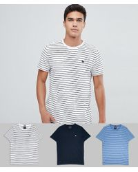 09700b5e Abercrombie & Fitch - 3 Pack Crew Neck Stripe T-shirt Slim Fit Moose Logo